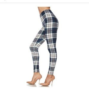 Pants - Classic Navy Plaid Leggings
